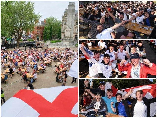 Football fans enjoy England's victory over the Czech Republic in Preston's Fan Zone at the Flag Market.