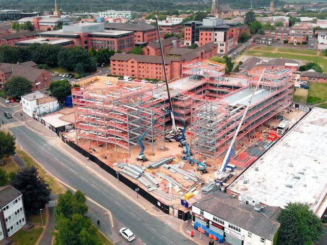The steelwork for Urban Hub Preston on Moor Lane