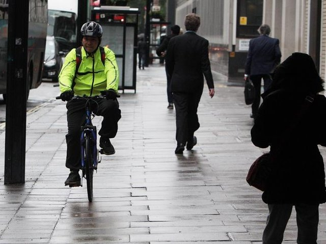 It is illegal for a cyclist to ride their bike on the pavement