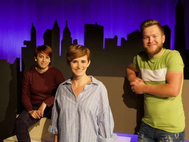 The cast in rehearsal for Ordinary Days at Chorley Theatre