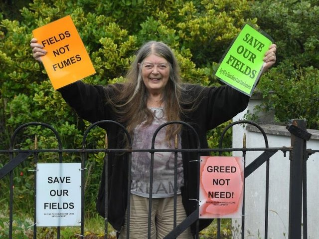 Local campaigner Jean Berry celebrating the news that an appeal against plans to build on a plot in Whitestake has been dismissed (image:  Neil Cross)