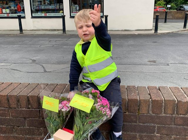 Little star Noah with his random acts of kindness trolley