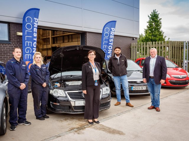 Pictured with workshop vehicles are: (from left) Automotive Technicians Phil Shea and Lianne Brooks, College Principal Louise Doswell, and from Recycling Lives Managing Director of the Cars Division Tazamul Sarodia and Chief Executive Officer Gerry Marshall.