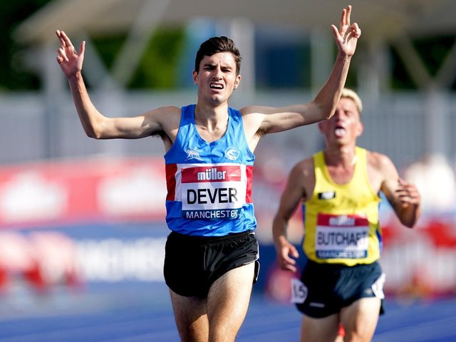 Patrick Dever wins the 5,000m at the UK Championships