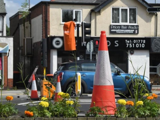 'Cone City' as Penwortham waits for its new lights to be switched on.
