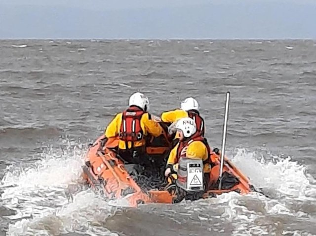 Morecambe's RNLI lifeboat was launched from Snatchems to rescue a person in difficulty on the River Lune weir.