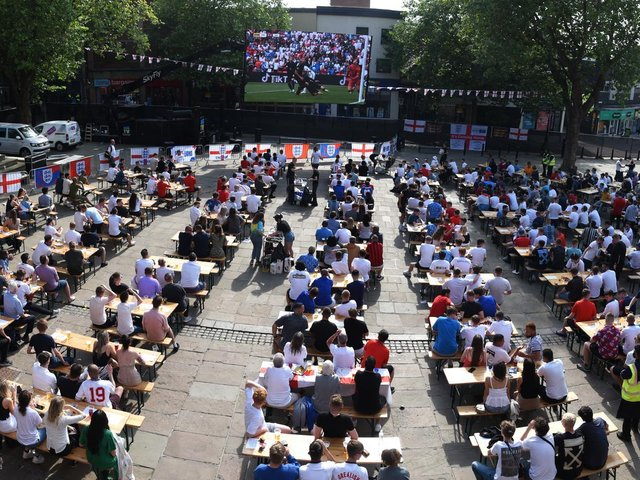 Football fans watching the England v Germany match