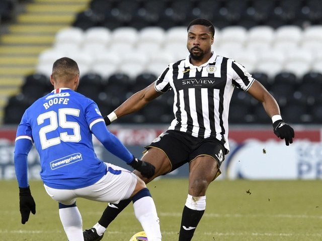 Jonathan Obika in action for St Mirren against Rangers