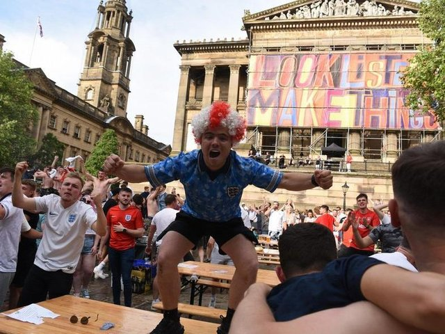 There were jubilant scenes in Preston on Tuesday as fans celebrated the historic 2-0 win over Germany, which takes the Three Lions into a tense quarter final against Ukraine at 8pm on Saturday (July 3)