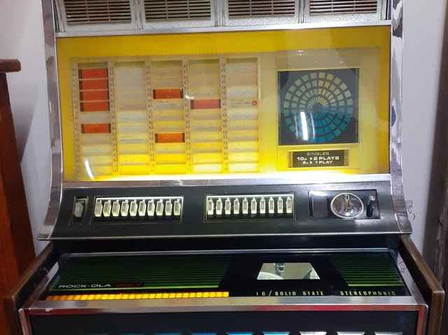 This Rock-ola jukebox is in good working order and is on sale for 595 pounds