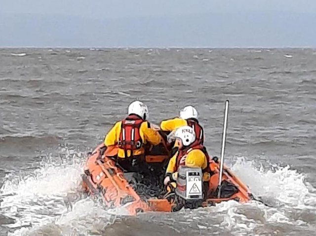 Morecambe RNLI lifeboat was called out to assist in the rescue of a man who had fallen 30 feet from a cliff edge onto a beach and sustained severe injuries.