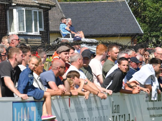 Fans watch the Bamber Bridge v Preston North End game in July 2019