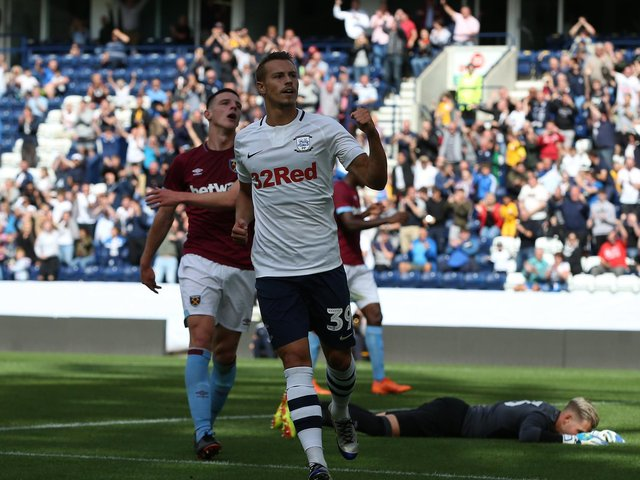 Billy Bodin scores for Preston North End against West Ham at Deepdale in July 2018