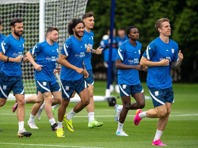 Izzy Brown joins his Preston North End team-mates in a run at the Euxton training ground       Photo courtesy of PNE