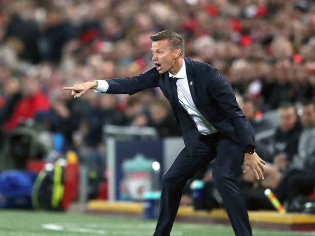 Jesse Marsch on the touchline at Anfield during his time as Red Bull Salzburg head coach