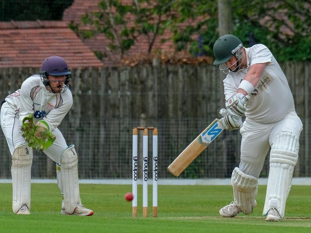 Fulwood and Broughton's Mark Smith batting against Blackpool at Highfield