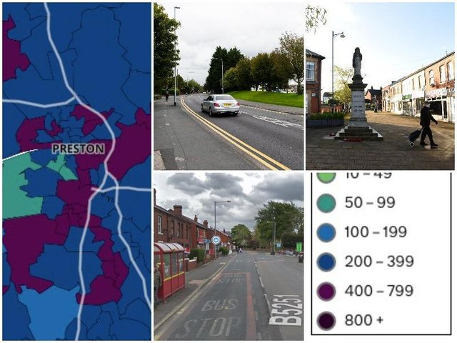 These are the areas of Preston, Chorley and South Ribble with an infection rate of more than 400.