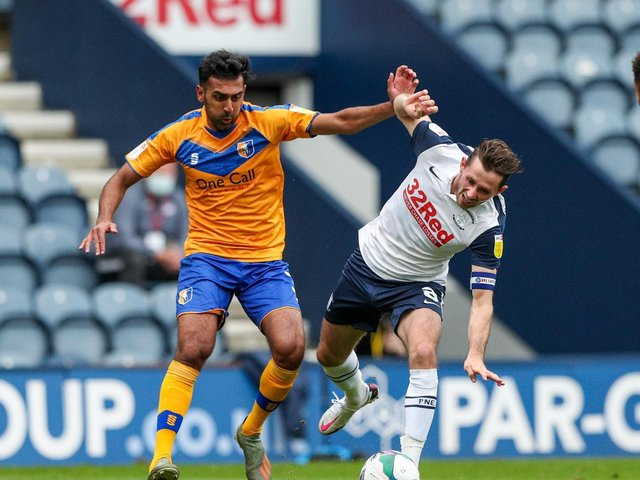 Preston North End skipper Alan Browne in action against Mansfield in the Carabao Cup last season
