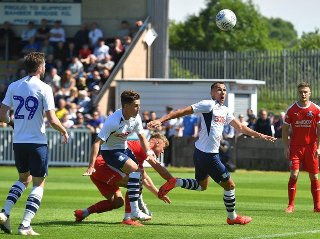 Action from Preston North End's visit to Bamber Bridge in July 2019