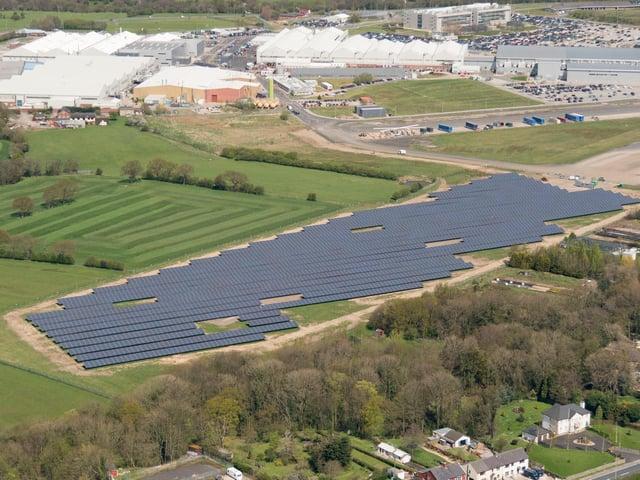 The solar farm at BAE Systems, Samlesbury