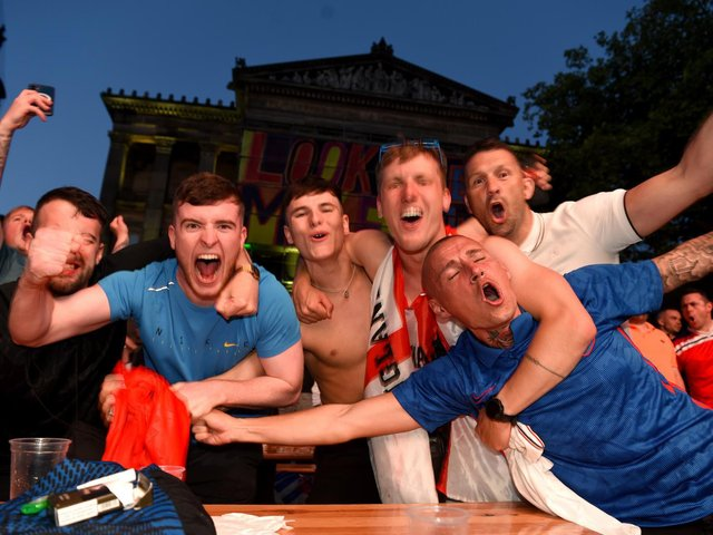 The lows and highs of being an England supporter at the Preston Fan Zone semi-final match against Denmark. England score the winner.