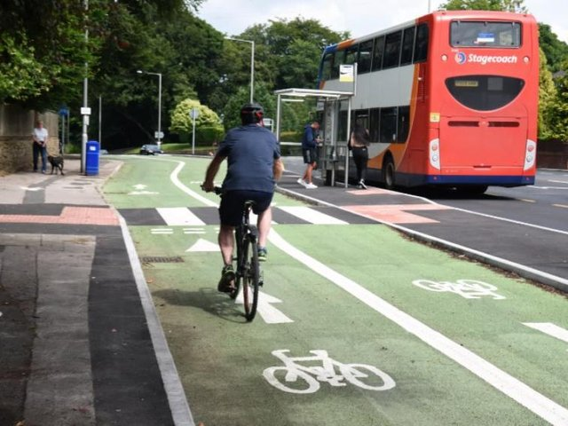 A rider using the green cycleway in Penwortham.
