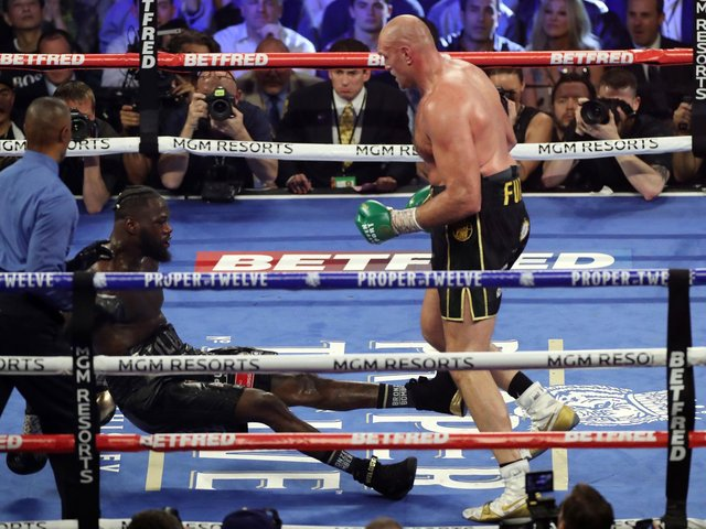 Tyson Fury on his way to victory over Deontay Wilder in the second fight between the pair