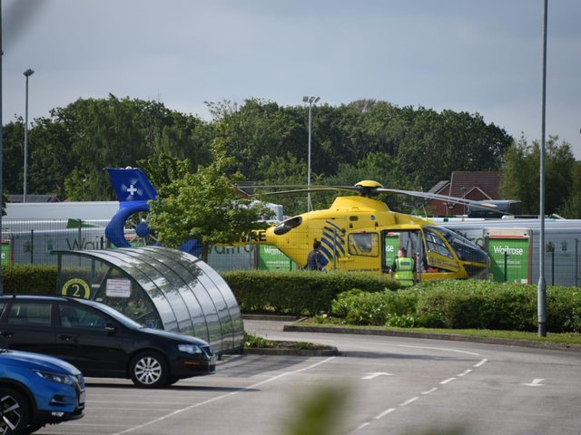 An air ambulance has landed at the Waitrose distribution centre in Wigan Road, Leyland this morning (Friday, July 9)