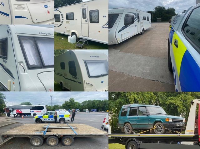 Five stolen caravans, a Land Rover Discovery and a tri-axle trailer have been recovered by police following a number of thefts in Chorley. (Credit: Lancashire Police)