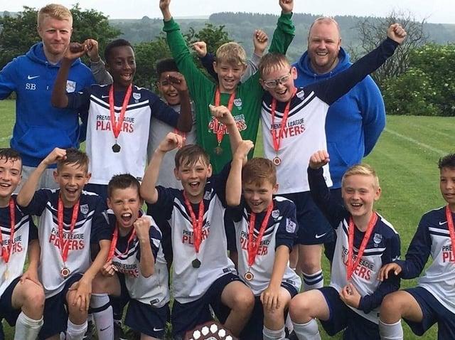 Preston Schools' FA chairman Paul Whelan (back row, far right) with the Preston City Under-11s team in 2016