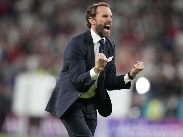 Gareth Southgate celebrates England's victory over Denmark in the Euro semi-final