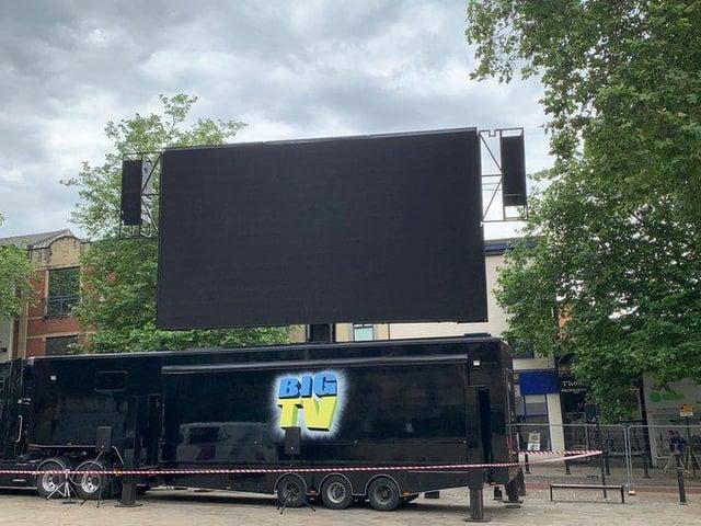 The big screen in Preston's Flag Market