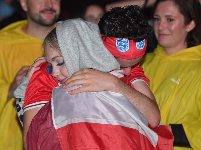 England fans at Preston's Fan Zone on an enthralling and devastating night