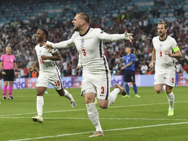 Luke Shaw celebrates giving England an early lead in the Euro 2020 final against Italy at Wembley