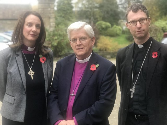 From left, Rt Rev. Dr Jill Duff, Bishop of Lancaster, Rt Rev. Julian Henderson, Bishop of Blackburn, and Rt Rev. Philip North, Bishop of Burnley.