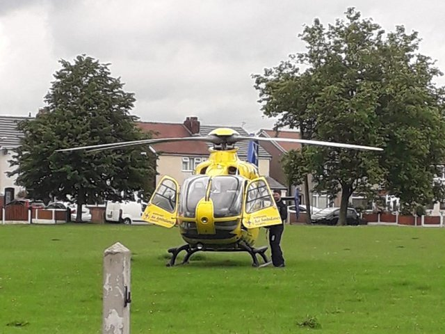 The air ambulance landed at around 9.20am in a field next to Mercer Road, close to Moor Hey School, in Lostock Hall. Pic credit: Mick Salthouse