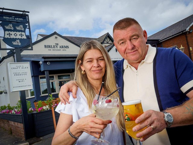 Publicans Tony Davies and Zoe Shelmerdine pictured outside the Birley Arms