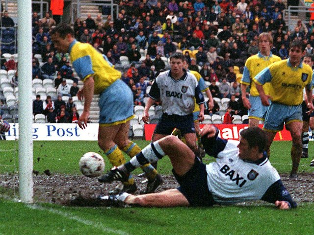 Jamie Squires scores the goal which clinched Preston North End's reserves the Pontins League title in May 1997