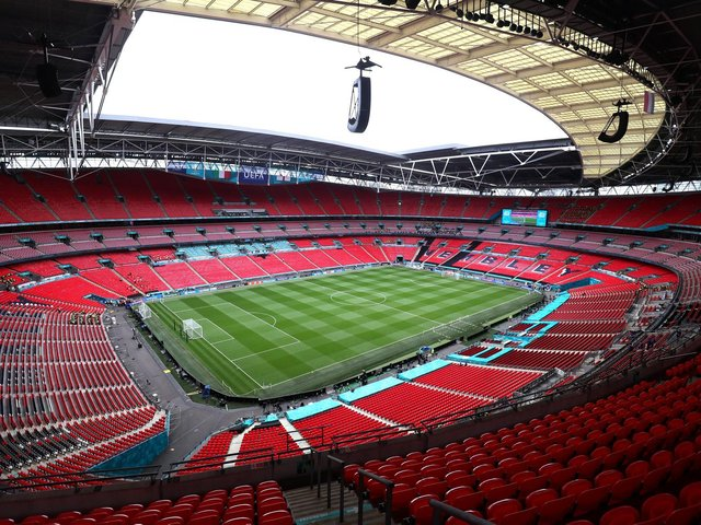 Wembley Stadium prior to the UEFA Euro 2020 Championship Final between Italy and England. (Photo by Alex Morton - UEFA/UEFA via Getty Images)