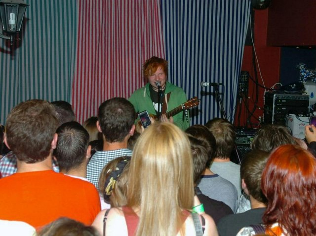 Ed Sheeran performing at The Mad Ferret in 2011