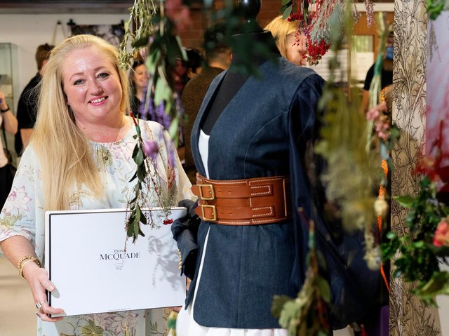 Fashion and Lifestyle Promotion student Fiona Godfry showcasing one of her designs.