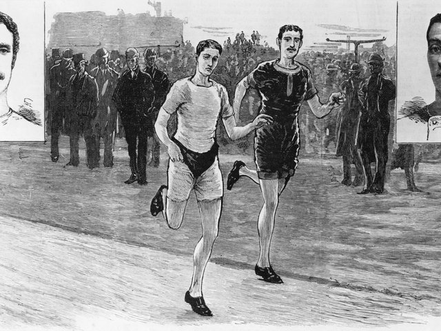 Long-term rival British athletes William Cummings and Walter George compete against each other in a 10-mile race