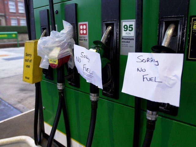 Pumps are dry at a petrol station on garage on Garstang Road, Preston