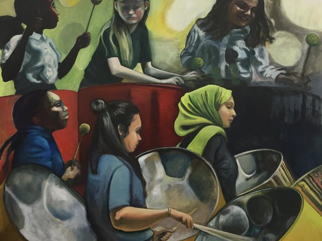 Music has inspired many of the artists showing their work at the Art of Music exhibition including Nicola Hepworth whose painting, Steel Pan Players, will be on display.