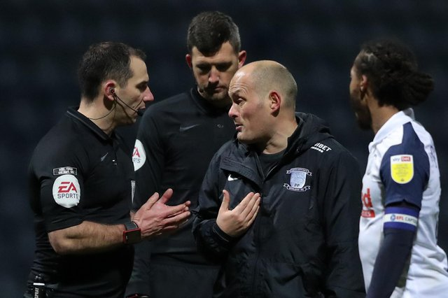 Alex Neil, manager of Preston North End, confronts match referee Tim Robinson following the Sky Bet Championship match between Preston North End and Nottingham Forest at Deepdale on January 02, 2021.