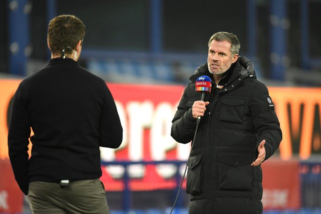 LIVERPOOL, ENGLAND - NOVEMBER 28: Sky Pundit Jamie Carragher is seen prior to the Premier League match between Everton and Leeds United at Goodison Park on November 28, 2020 in Liverpool, England. Sporting stadiums around the UK remain under strict restrictions due to the Coronavirus Pandemic as Government social distancing laws prohibit fans inside venues resulting in games being played behind closed doors. (Photo by Peter Powell - Pool/Getty Images)